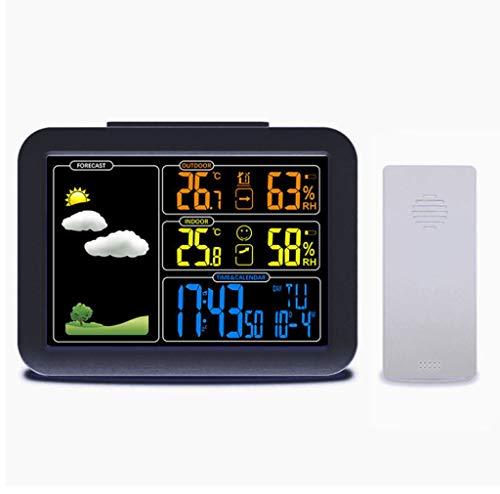 Estación meteorológica despertador electrónico, instrumento meteorológico interior y exterior sin cables, con...