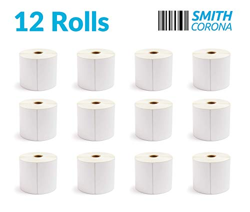Smith Corona - 12 Rolls of 4 x 6 Direct Thermal Labels, 475 Labels Per Roll, Made in The USA, 5700 Labels Total, for 1 Core Printers (12 Rolls) - Zebra Compatible