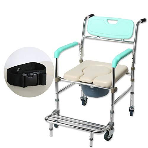 WuLien Silla Inodoro, Silla WC con Inodoro, con el Pedal del Orinal Silla de Ducha Sillas de Ruedas, para la Tercera Edad, Ancianos y discapacitados Mujer Embarazada Adultos