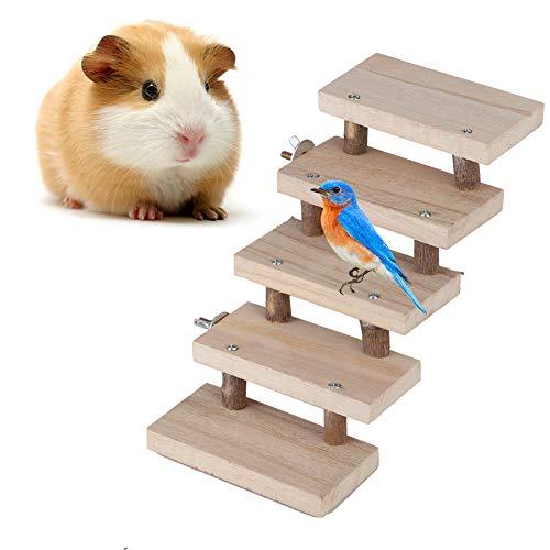 Ymiko Escalera de Madera de hámster, 5 Capas Escalera de hámster de Madera Natural Escara de Loro Escaleras de Juguete Juguetes para Mascotas Jaula de Regalo Accesorios para hámster Animales pequeños