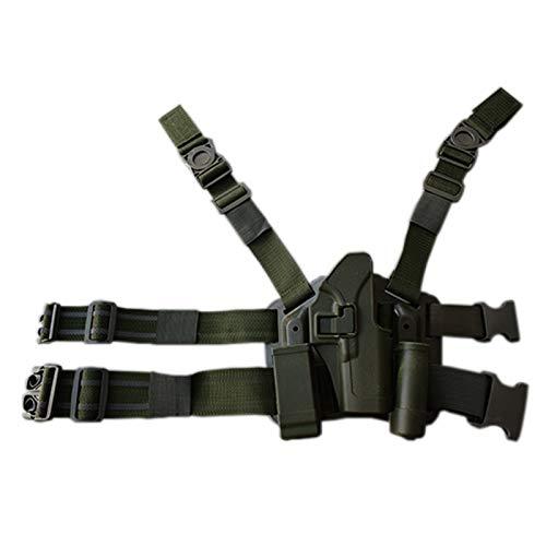 NO LOGO Lixia-Gun, Funda de Pistola de Pistola táctica de Combate Glock Funda de Pistola de Caza Militar Funda de Pierna Airsoft Apta for Glock 17 19 22 23 31 32 (Color : Green Leg Right Hand)