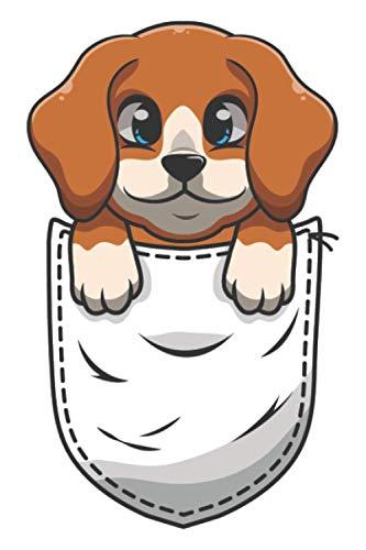 Beagle in der Brust-Tasche Pocket für Hundebesitzer Comic: DIN A5 Liniert 120 Seiten / 60 Blätter Notizbuch Notizheft Notiz-BlockBeagle Hunde Motive für Hundeliebhaber
