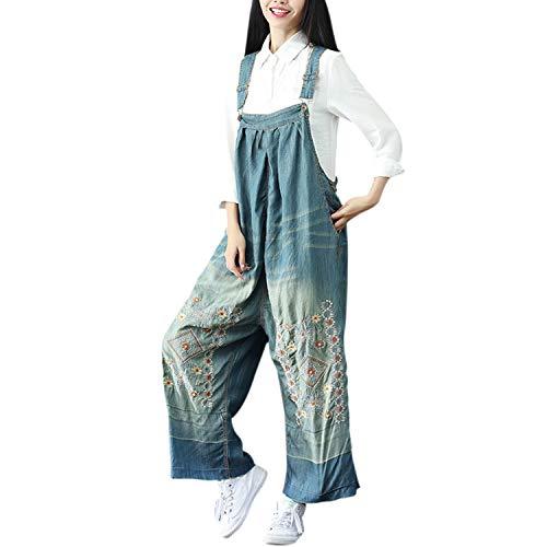 semen Damen Jeans Latzhose Breit Bein Locker Oversized Bohemian Blumen Stickerei Bequem Trägerhose Jeanshose Jumpsuit Übergroß One Size