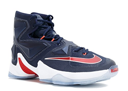Nike Men's Lebron XIII Midnight Navy/White/Red Basketball Shoe - 8.5 D(M) US