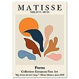 Carteles e impresiones de hojas de Coral con cara de línea Matisse Retro abstracto cuadro de pared sin marco pintura en lienzo A2 60x80cm