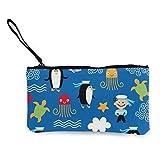 Monedero de lona con diseño de tortuga de pingüino, bolsa de maquillaje de viaje, bolsa de efectivo, estuche para lápices