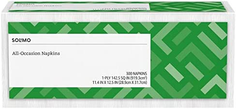 Amazon Brand - Solimo 1-ply Everyday Paper Napkins, White, 300 Count (Pack of 12)