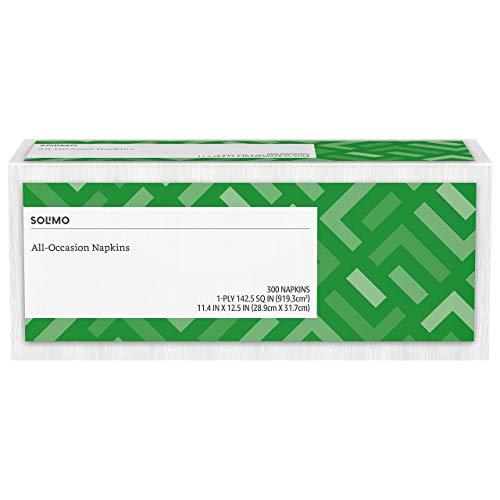 Amazon Brand - Solimo 1-ply Everyday Paper Napkins, White, 300 Napkins Iowa