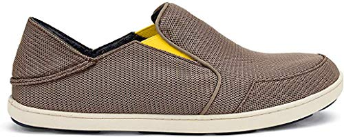 OLUKAI Men's Nohea Mesh Slip-On Shoes, Rock/Canoe