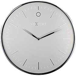 NEXTIME Unek Goods Glamour Metal Dome Wall Clock | 15.75 Diameter | Aluminum and Glass | Grey and Silver | Battery Operated