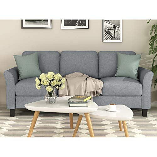 Unknown1 Modern Fabric 3-seat Sofa Grey. Grey Solid Casual Contemporary Wood