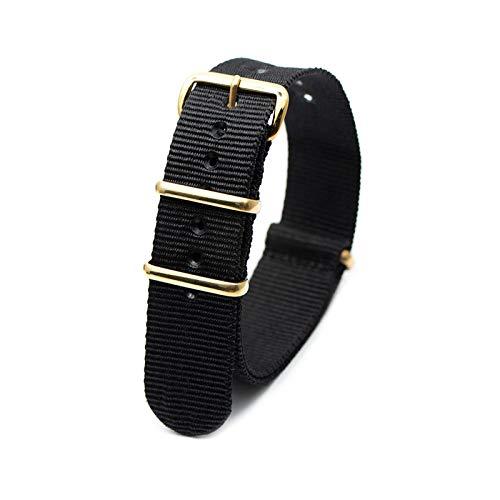 Respirant Montre Bracelets NATO Style Montres-Bracelets Band 18mm/20mm/22mm/24mm avec Boucle dorée Wristband, Noir, 18mm
