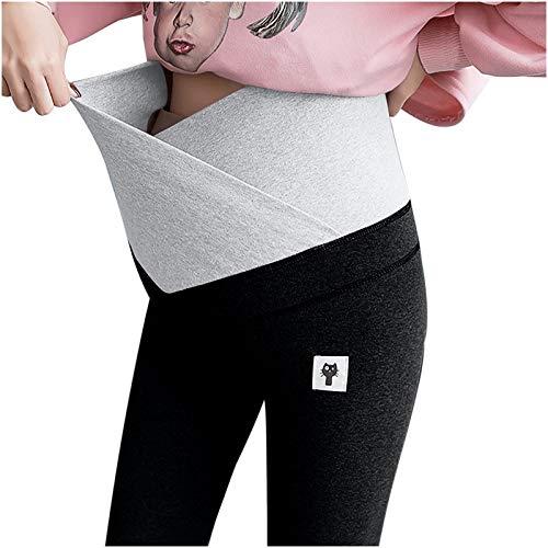 Cypapa Damen Hosen Schwangerschaftshose,Umstandshose Straight Fit Hose für Schwangerschaft Maternity Hose Warme-blickdichte Damen-Leggings - besonders bequem (Schwarz, XL)