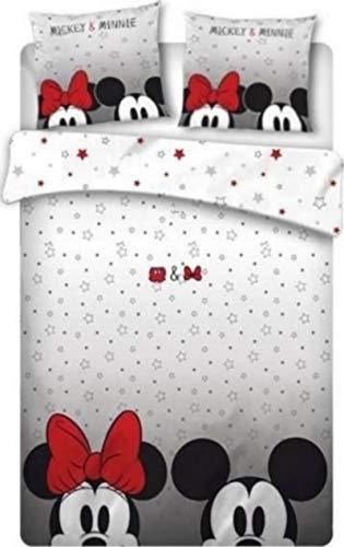 M & M - Juego de funda nórdica y funda de almohada (240 x 220 cm), diseño de Mickey y Minnie