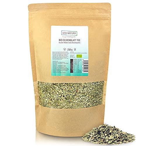 VITA NATURA Olivenblätter-Tee BIO - Kräutertee - Olivenblattextrakt - Biotee lose - aus Spanien - 100 % vegan - in 250 g Packung erhältlich