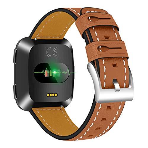 XIALEY Correa De Cuero Compatible con Fitbit Versa 2 / Fitbit Versa/Fitbit Versa Lite, Pulseras De Reloj con Correa De Repuesto Deportiva para Hombres Y Mujeres Compatible con Versa,Marrón