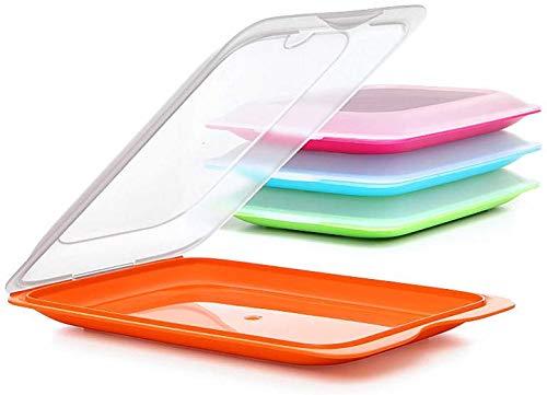 TATAY - Satz von 4 Wurstbehälter FRESH System, Zwei Einheiten in Grün, Orange, Blau und Rosa Farben Enthalten, Maßnahmen 17 x 3.2 x 25.2 cm