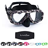 OMGear Camouflage Diving Goggles Camo Dive Mask Adult Snorkeling Glasses Swimming Goggles with Nose Water Goggles(Black Camo)