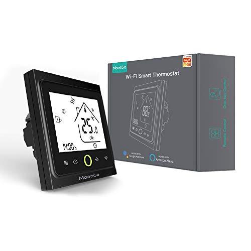 MoesGo Termostato para calefacción eléctrica y regulador de temperatura activado por wifi para hogar digital, compatible con las apps Smart Life y Tuya, y con Alexa y Google Home (Negro)