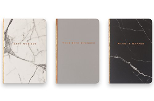 Eccolo Mini Memo Books/Jotters, 4 x 6 Inches, Ruled, Flexible Cover, Pack of 3 (Marble Designs)