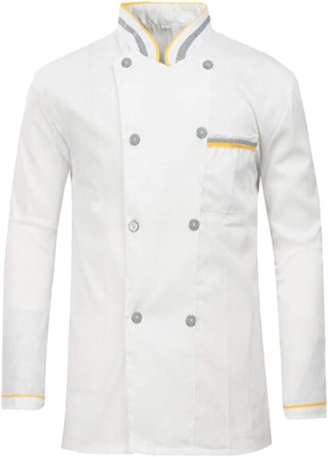 Cabilock Men Chef Coat Long Max 55% OFF Award-winning store Sleeve Kitchen Ba Cooking Restaurant