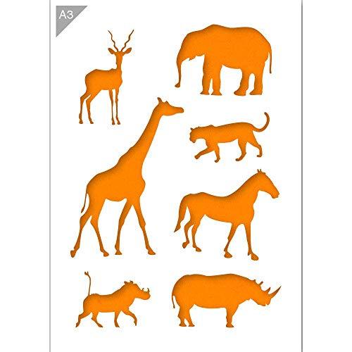 Afrikanische Tiere Silhouetten Schablone - Plastik - A3 42 x 29,7 cm - Breite Elefant 12 cm - wiederverwendbare kinderfreundliche Schablone für Malerei, Handwerk, Fenster, Wände und Möbel