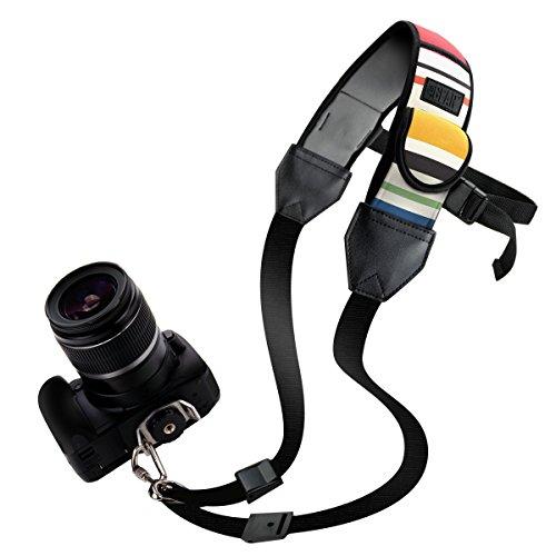 TrueSHOT Correa para el Cuello Cámara de Fotos Réflex USA Gear, Soporte para Hombro de Cámaras DSLR Nikon D5300 D5500, Canon EOS 700D 750D, Sony Alpha, Pentax Muchos y más Diseño Rayas