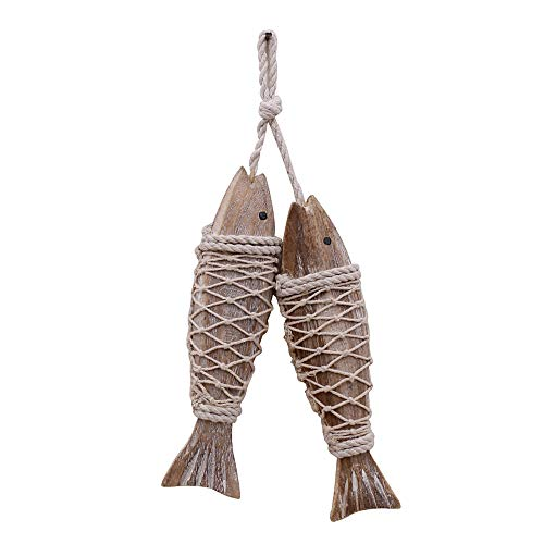 Antique Wood Fish Decor Ornament Wall Hanging Wooden Fish Decorations for Home Nautical Theme 2 Pieces