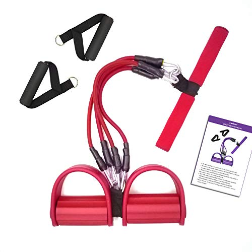 4 Tubes Fitness Rope, Elastic Pedal Resistance Band Pull Rope Sit-up Exercise Equipment for Abdomen, Waist, Arm, Leg Stretching Slimming Yoga Training (Red)