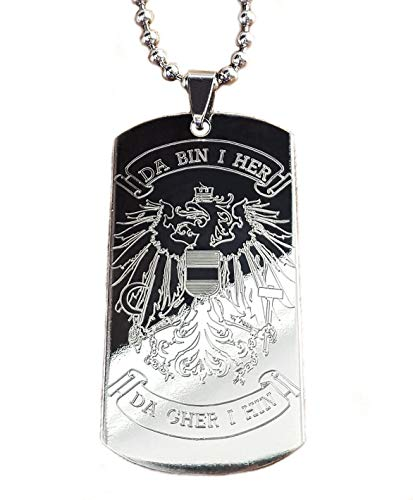 Real Bullet Design Dog-Tag DA Bin I HER, DA GHER I HIN mit Österreich Adler Patriot Edelstahl Halskette