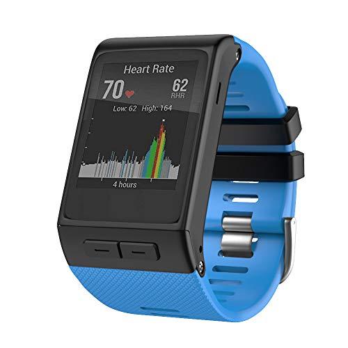 ANBEST Pulsera de Silicona Compatible con Garmin Vivoactive HR Correa, Banda Deportiva de Repuesto con Clavijas de Conexión y Destornillador para Vivoactive HR Smart Watch, Azul