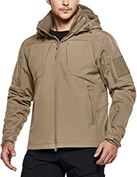 CQR Men s Winter Tactical Military Jackets Lightweight Waterproof Fleece Lined Softshell Hunting Jacket w Hoodie Operator Multipocket Coyote X-Large
