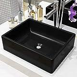 Festnight Vasque à Poser de Salle de Bain Lavabo Céramique Rectangulaire Noir 41 x 30 x 12 cm