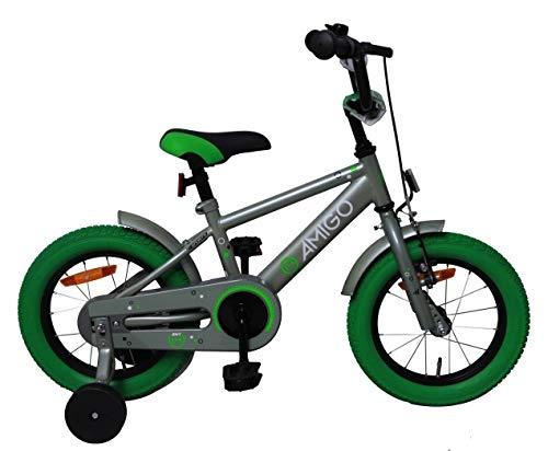 AMIGO Sports - kinderfiets - 14 inch - jongens - met terugtraprem en steunwielen - vanaf 3 jaar - olijfgroen