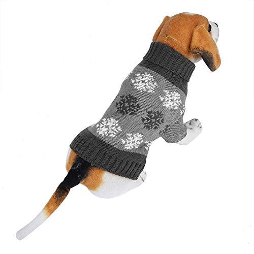 Ubrania dla psów Sweter z dzianiny z nadrukiem w płatki śniegu Zimowe ciepłe dekoracje świąteczne (L-szary)