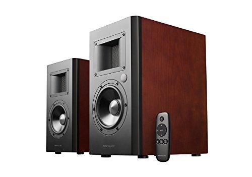 AmazonUkkitchen AirPulse A100 Actieve Boekenplank Bluetooth HiRes Audio Speaker Systeem met handtekening Phil Jones Ontwerp - A200 - Kers Hout A200-Cherry Wood Kersenhout
