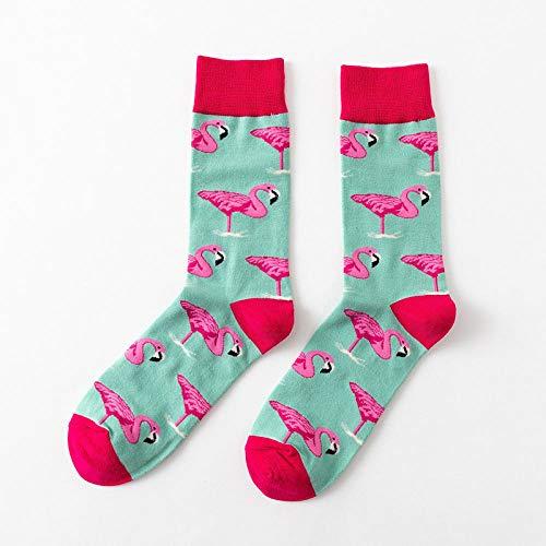 POYANG 3 Paar Socken Herbst und Winter Flamingo Herren Mid-Tube Persönlichkeit kreative Graffiti Trendige Socken Einheitsgröße-Grüner Bodenkran_Nackte Socken