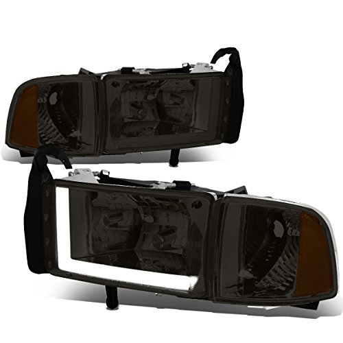 Pair LED DRL Smoked Housing Amber Corner Headlights Lamps Compatible with Dodge Ram (Non-Sport Model) 94-01