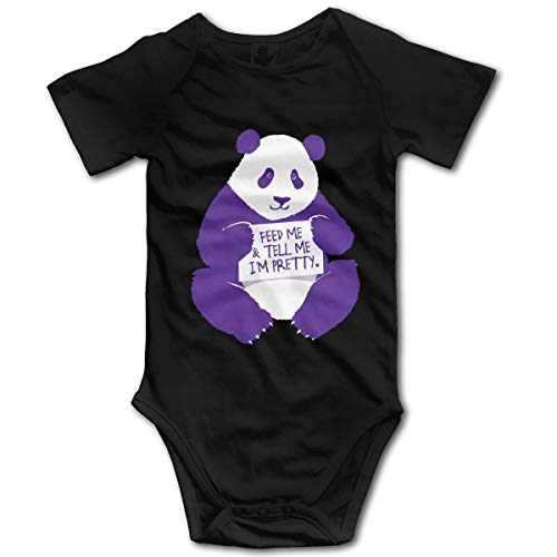 Nourrissez-Moi,Dites-Moi Que Je suis Jolie,Combinaison bébé à Manches Courtes pour Enfant de Panda Girl Boy(2T,Noir)