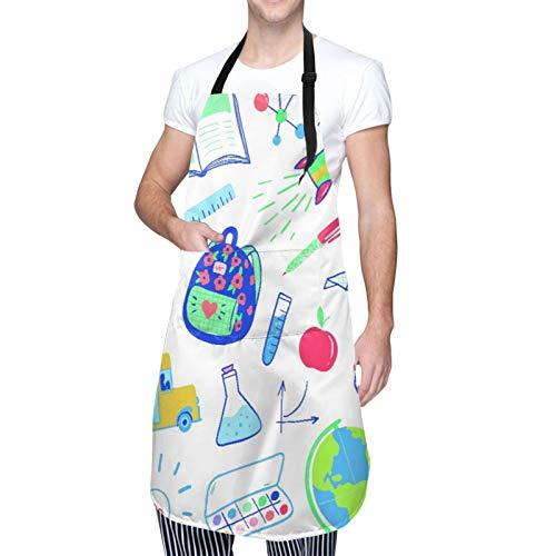 Ajustable Colgante de Cuello Personalizado Delantal Impermeable,Bienvenido de nuevo a la plantilla de diseño escolar con útiles escolares,Babero de Cocina Vestido para Hombres Mujeres con 2 Bolsillos