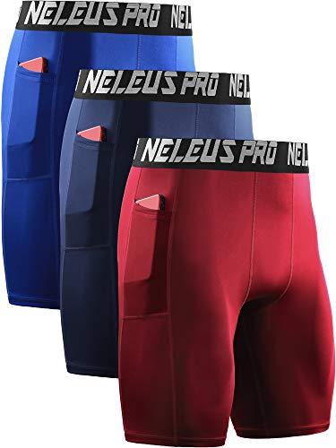 Neleus Men's 3 Pack Compression Shorts with Pockets,6063,Blue/Navy/Red,US 2XL,EU 3XL