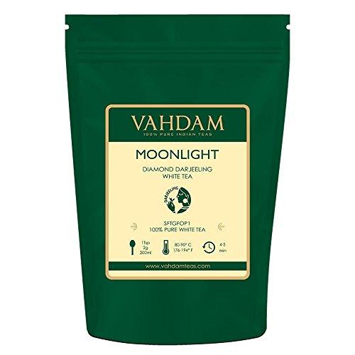 Diamond Moonlight Foglie di tè bianche dall'Himalaya (25 tazze), 100% naturale di tè disintossicante, tè per la perdita di peso - IL PIÙ GRANDE TÈ BIANCO PIÙ ALTO DEL MONDO, 50gm
