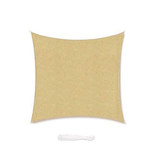 Sekey Toldo Vela de Sombra Cuadrada HDPE Protección Rayos UV Resistente Permeable Transpirable para Patio, Exteriores, Jardín, con Cuerda, Arena 5×5m