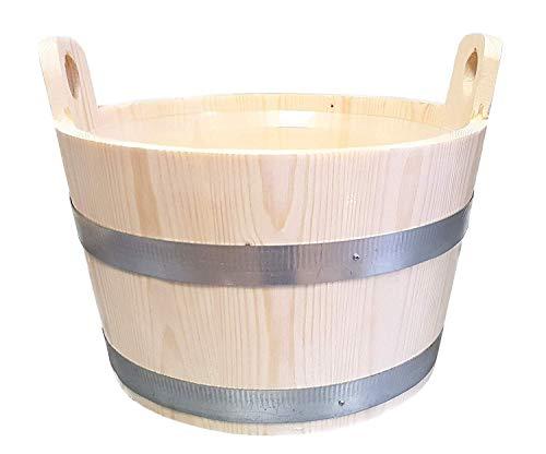 SudoreWell Saunakübel aus Kiefernholz 5,0 l mit 2 Griffdauben und inkl. Einsatz