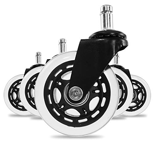 ATLIN Soft Rubber Rollerblade Office Chair Wheels Standard Size Transparent/ Clear 5-Pack
