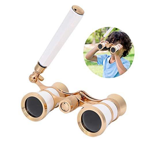 Oumij 3X25 Kinder Fernglas Teleskop High Definition Kinder Optische Glaslinse BK7 für Outdoor Sports Opera Theater Vogelbeobachtung Sterne und Jagd (Weiß)(Weiß)