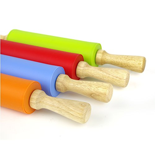 Blue, 15 inch Remeel Silicone Rolling Pin Non-Stick Surface Wooden Handle