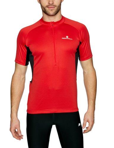 Ronhill T-Shirt de Cyclisme zippé à Manches Courtes pour Homme Rouge/Noir Taille S