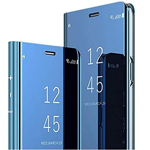 64Gril Case Compatible with Samsung Galaxy S10 Plus Schutzhülle Flip Spiegel Handyhülle Ultradünn PU Handy Schutz Löschen Clear View für Samsung Galaxy S10/Galaxy S10e (Samsung Galaxy S10, Blau)
