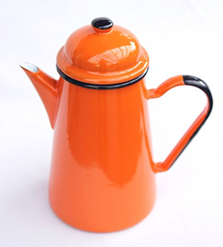 DanDiBo Kaffeekanne 578TB Orange 1,0 L emailliert 22 cm Wasserkanne Kanne Emaille Nostalgie Teekanne